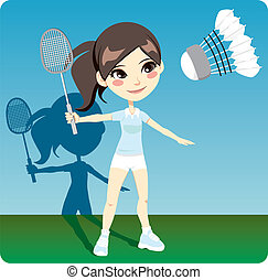Badminton Player - Young brunette woman playing professional...