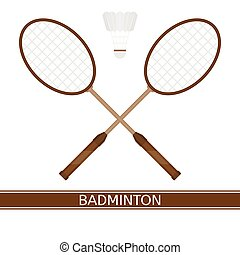 Badminton racket and shuttlecock - Vector illustration of...