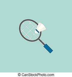 Badminton racket and shuttlecock vector