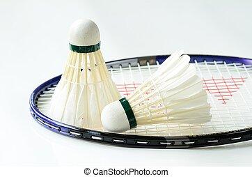 Badminton racket and shuttlecocks concept of sport