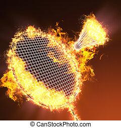 badminton racket in fire