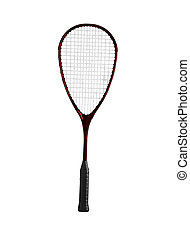 Badminton racket on a white background