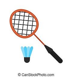 Badminton, racket, shuttlecock, sports icon vector image....