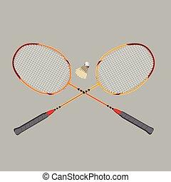 badminton rackets and shuttlecock, vector illustration