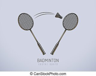 Badminton rackets and shuttlecock vector illustration