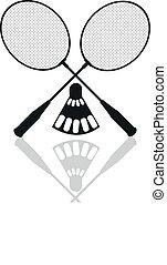 badminton rackets - silhouettes, shuttlecock, net, court, ...