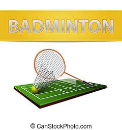 Badminton shuttlecock and racket emblem - Realistic...