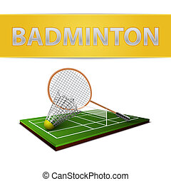 Badminton shuttlecock and racket emblem - Realistic...