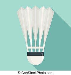 Badminton shuttlecock icon, flat style - Badminton...