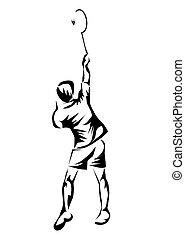 badminton. silhouette of sportsman on white background