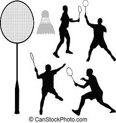 badminton, silhouettes
