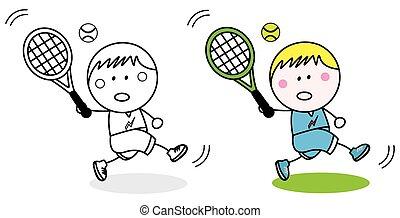 badminton, speler, kleuren