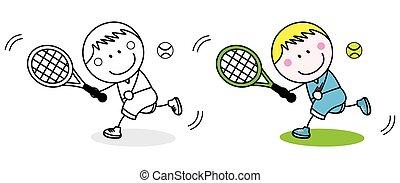 badminton, speler, kleuren, pagina