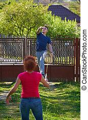 badminton, spielende , landschaft