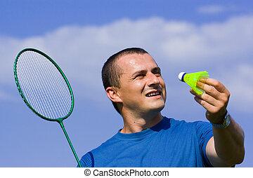 badminton, spielende , mann, junger