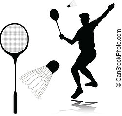 badminton, spieler, silhouetten, vektor