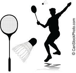 badminton, spieler, vektor, silhouetten