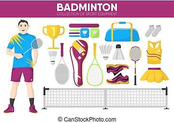 Badminton sport equipment game player garment accessory vector icons set