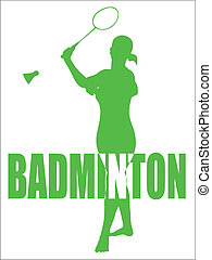 Badminton Sport Vector - Sports Vector Design Of A Woman...