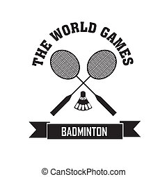 Badminton symbol on white background