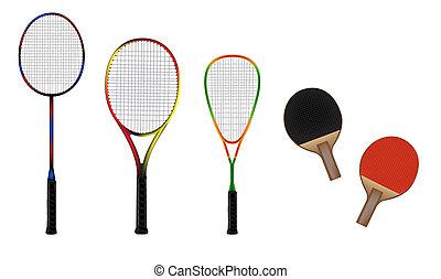 badminton, tênis, squash