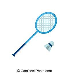 badminton., vrijstaand, vector, achtergrond, witte , pictogram