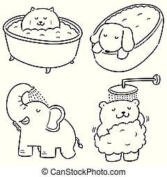 badning, vektor, sätta, djur