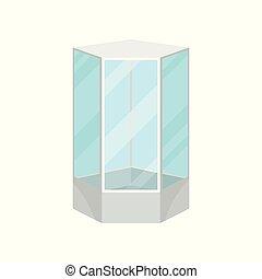 badrum, nymodig, illustration, skur, vektor, bakgrund, vit, stuga, möblemang