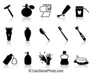 badrum, sätta, svart, tillbehör, ikon
