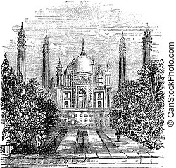 Badshahi Mosque vintage engraving - Badshahi Mosque in...