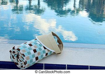 badstrandhandduk, och, sol hjämgaller