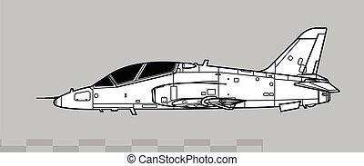 BAE HAWK T1A, T-45 Goshawk. Vector drawing of advanced trainer aircraft.