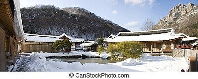 Baegyangsa temples in south korea, winter landscape