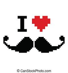baffi, amore, geeky, pixelated