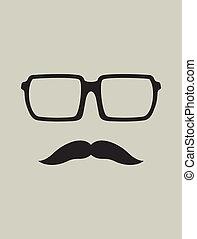 baffi, nerd, occhiali