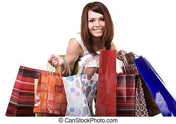 bag., 女の子, 買い物, グループ
