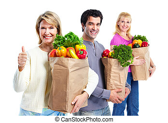 bag., 食料雑貨, 幸せ, 買い物, 人々