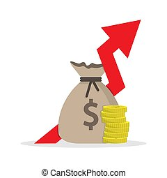 bag and a stack of coins with an up arrow. Simple color flat icon on a white background