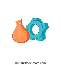 Bag and gear icon, cartoon style