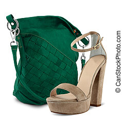bag and  high heel women shoe isolated on white
