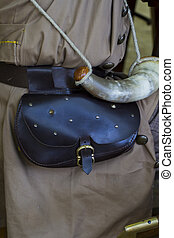 Bag and horn during the re-enactment of the War of Succession. S
