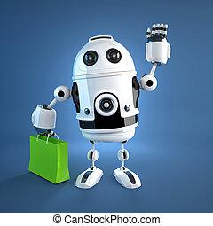 bag., androide, compras, robot