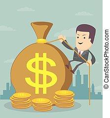 bag., argent, deposit., homme, making., financials., banque