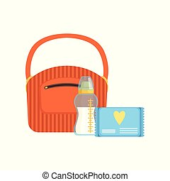 Bag, baby bottle of milk and pack of wet wipes, feeding and caring for a child vector Illustration on a white background