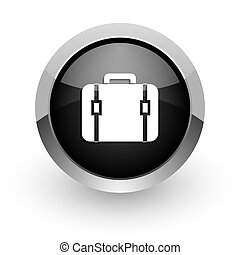 bag black chrome glossy web icon