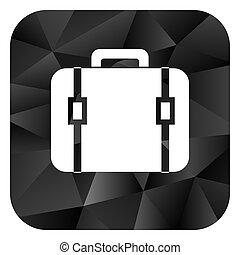 Bag black color web modern brillant design square internet icon on white background.