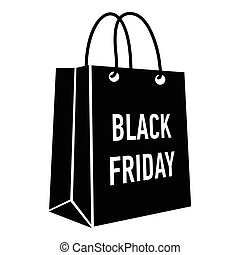 Bag black friday icon, simple style