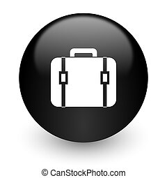 bag black glossy internet icon