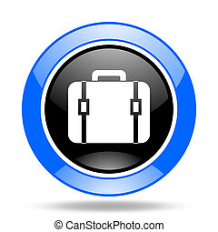 bag blue and black web glossy round icon
