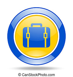bag blue and yellow web glossy round icon